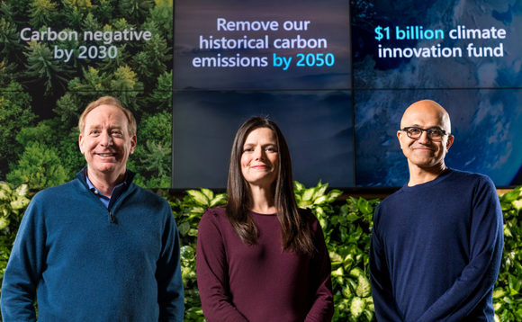 L-R: Microsoft president Brad Smith, CFO Amy Hood and CEO Satya Nadella
